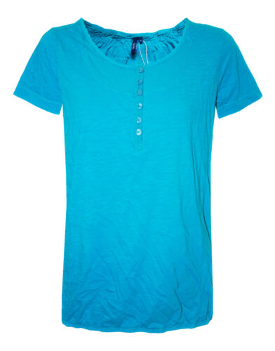 Womens C.L T-Shirt Top Gypsy Style Elasticated Turquoise Size 14 to 22 E5.4
