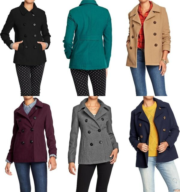 OLD NAVY Womens Wool Blend Peacoat Pea Coat Jacket REG, TALL, PETITE SIZES NEW