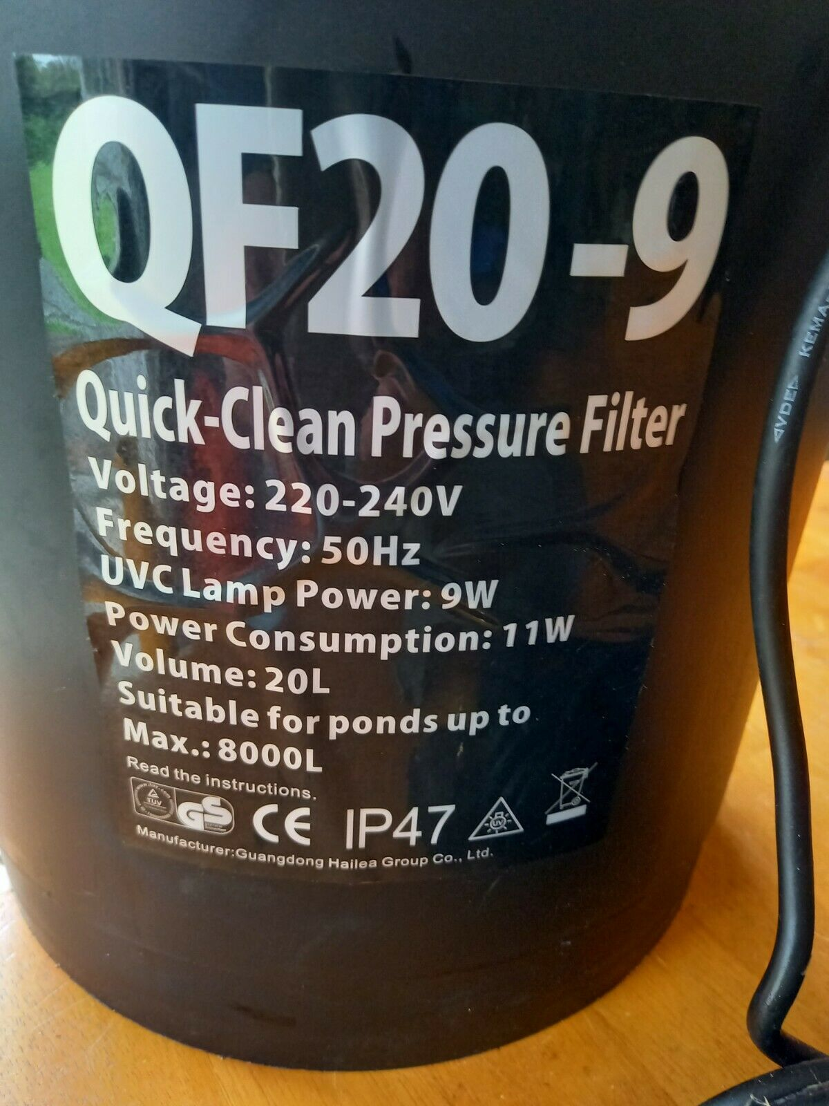 Hailea Pond Filter QF 20-9 UV light and pond skimmer connections