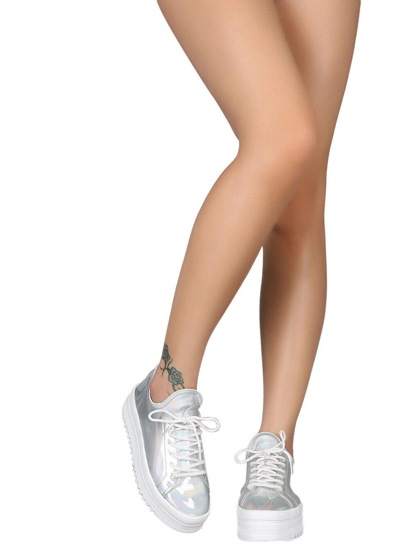 Femmes PVC à lacets compensées Lug Sole baskets 18342