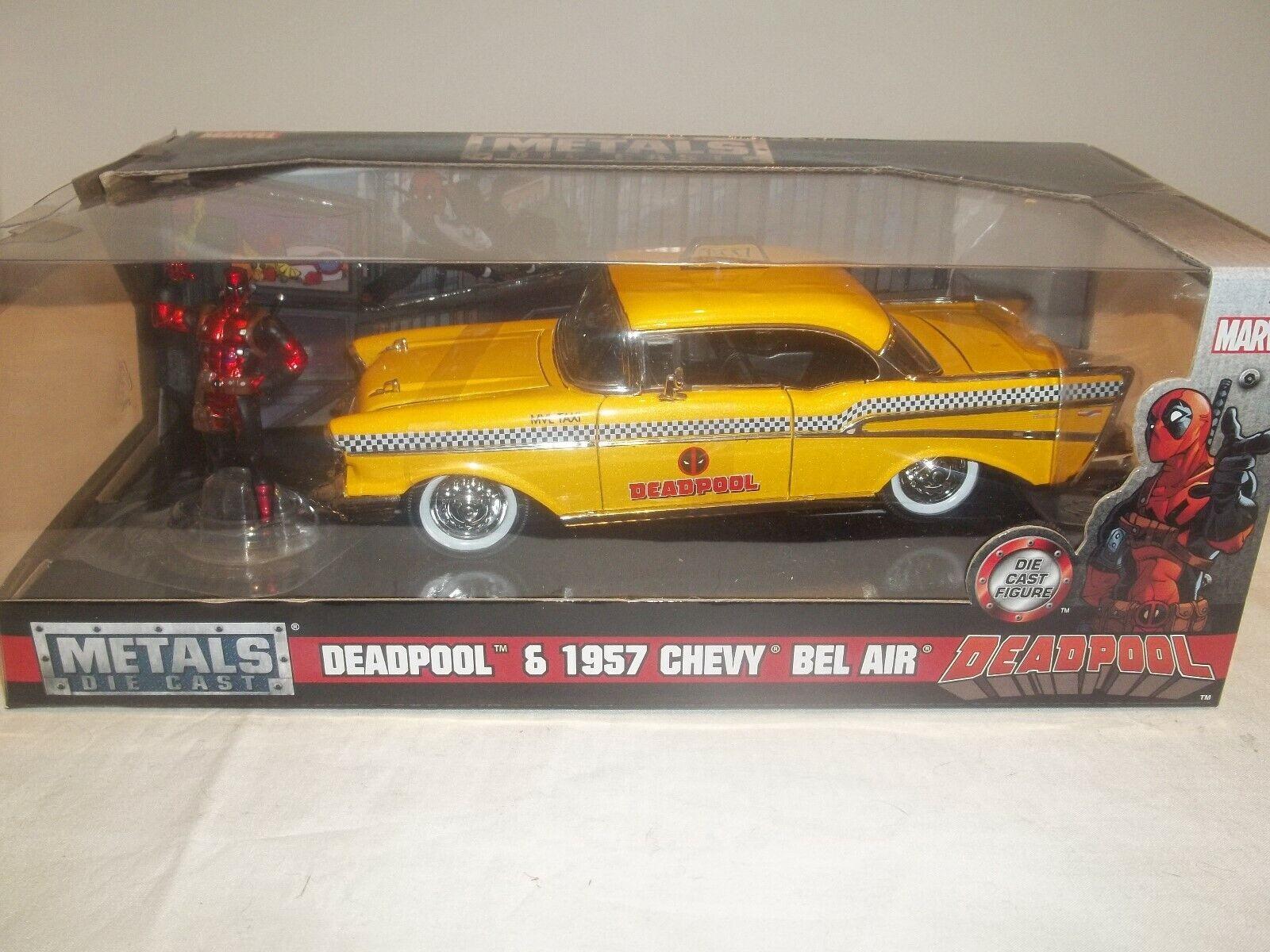 Jada 30290 Deadpool 1957 Chevy Bel Air + Figure 1 24 New & Boxed