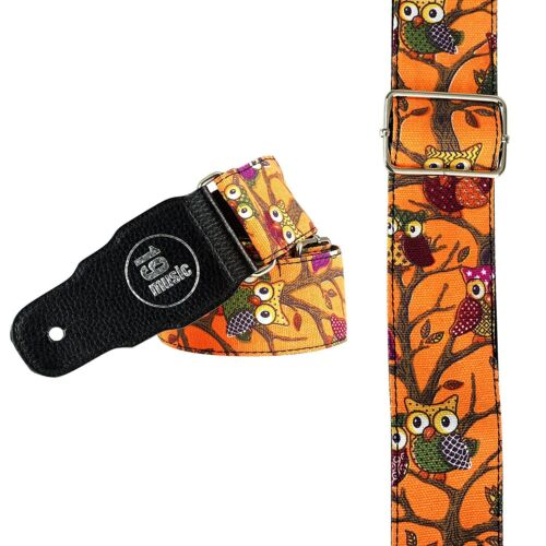 Black Friday Clearance Deal Neon Orange OWL Design Guitar Strap cute sweet xmas