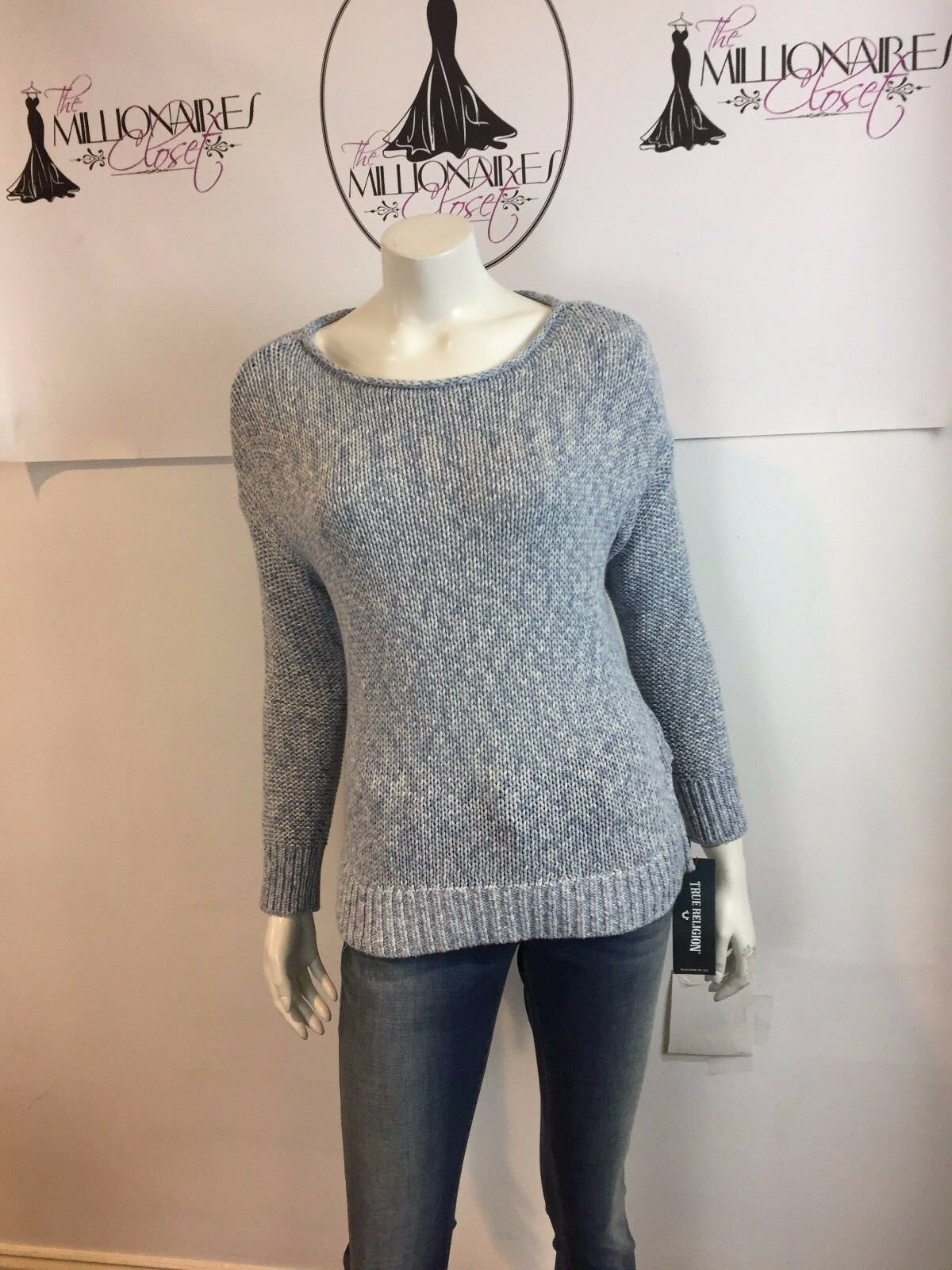 VINCE 118517 118517 118517 blueE WHITE COTTON KNIT SWEATER SZ M cfdb70