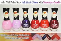 Italia Nail Polish Set- Pink, Purple, Red Colors- Full Size 6 Pcs Us Seller