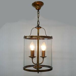 Vintage-Haengelampe-Art-Jugendstil-Zylinder-Formrahmen-mit-4-Glasteilen-2-Sockel