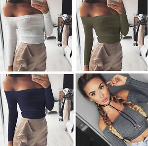 0b6aff4b9a3 Women Girl Sexy Long Sleeve Off Shoulder Party Crop Tops Blouse T ...
