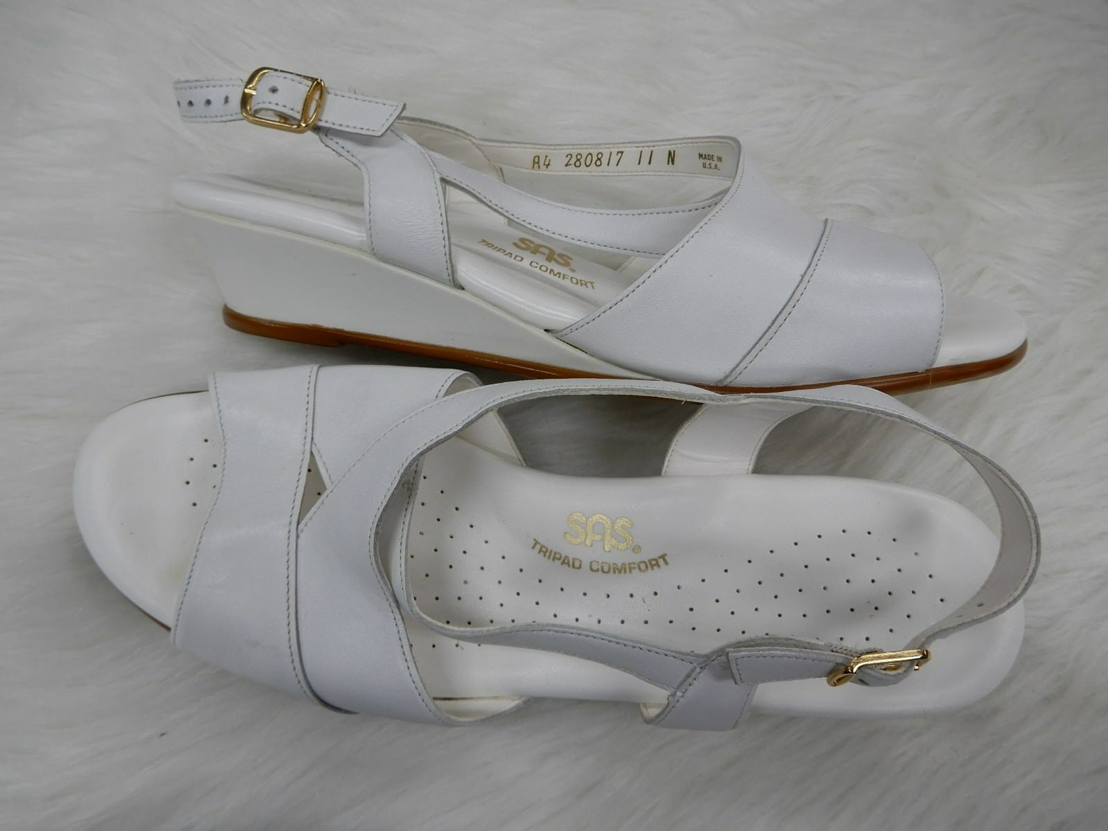 SAS White leather wedge sandals Narrow size 11 N 11 Narrow sandals  L@@K! 557f18