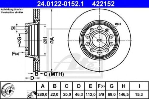 Original ATE Bremsscheiben 280mm belüftet Vorderachse für Audi