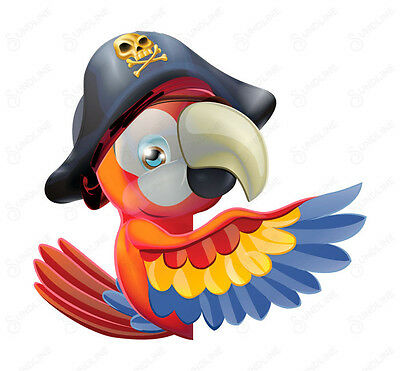 FULL COLOR VINYL STICKER DECAL Cartoon friendly pirate parrot