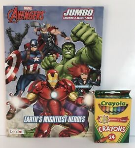 Marvel-Avengers-Jumbo-Coloring-amp-Activity-Book-Mazes-Puzzles-24-Crayons-Boys