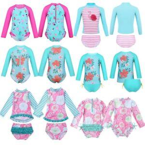 Kid-Girls-Long-Sleeves-Tankini-Printed-Swimsuit-Swimwear-Rash-Guard-Bathing-Suit