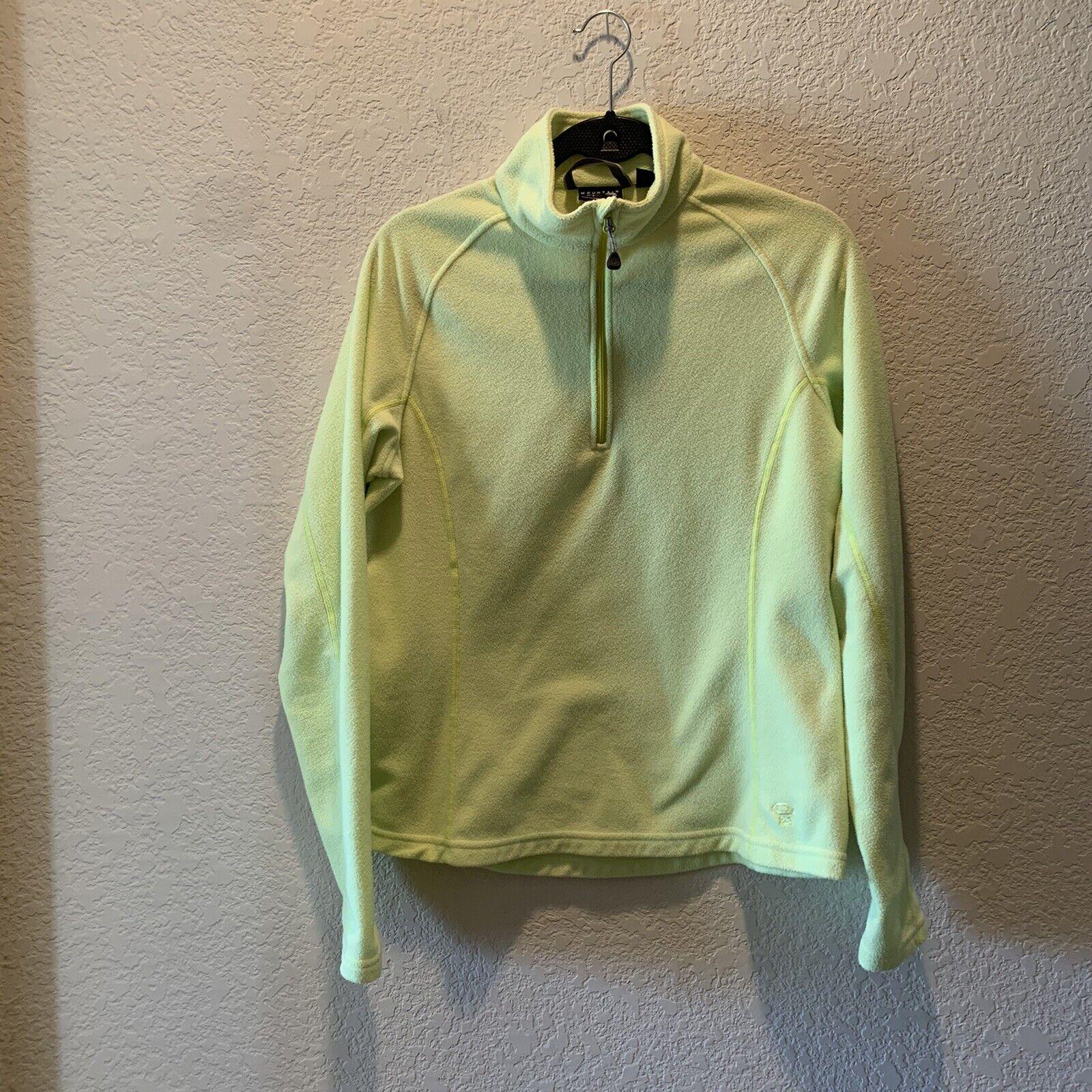 mountain hardwear women 1/4 zip lime lightweight long sleeve pullover fleece top