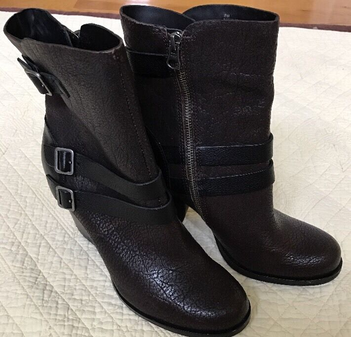 Kork-Ease Short Zip-up Buckle Boot, Brown Brown Brown Textured Leather, Donna Size 8.5 9e54f2