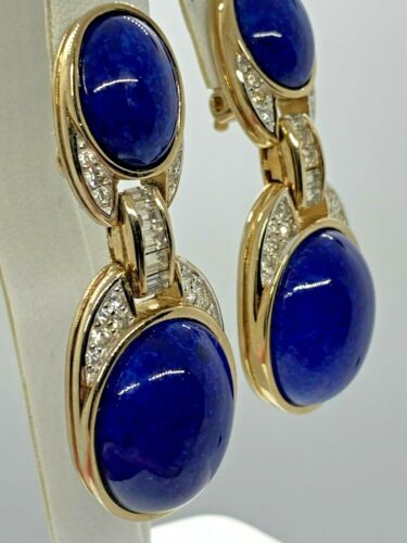 Vintage Blue Cabochon Link Bracelet Signed Paris Goldtone Metal
