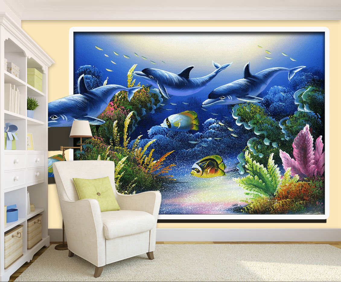 3D ocean dolphin 117 Wall Paper wall Print Decal Wall Deco Indoor wall Mural