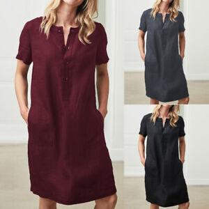4f4b668b2eee Plus Size Women Cotton Linen Midi Dress Ladies Buttons Pocket Shirt ...