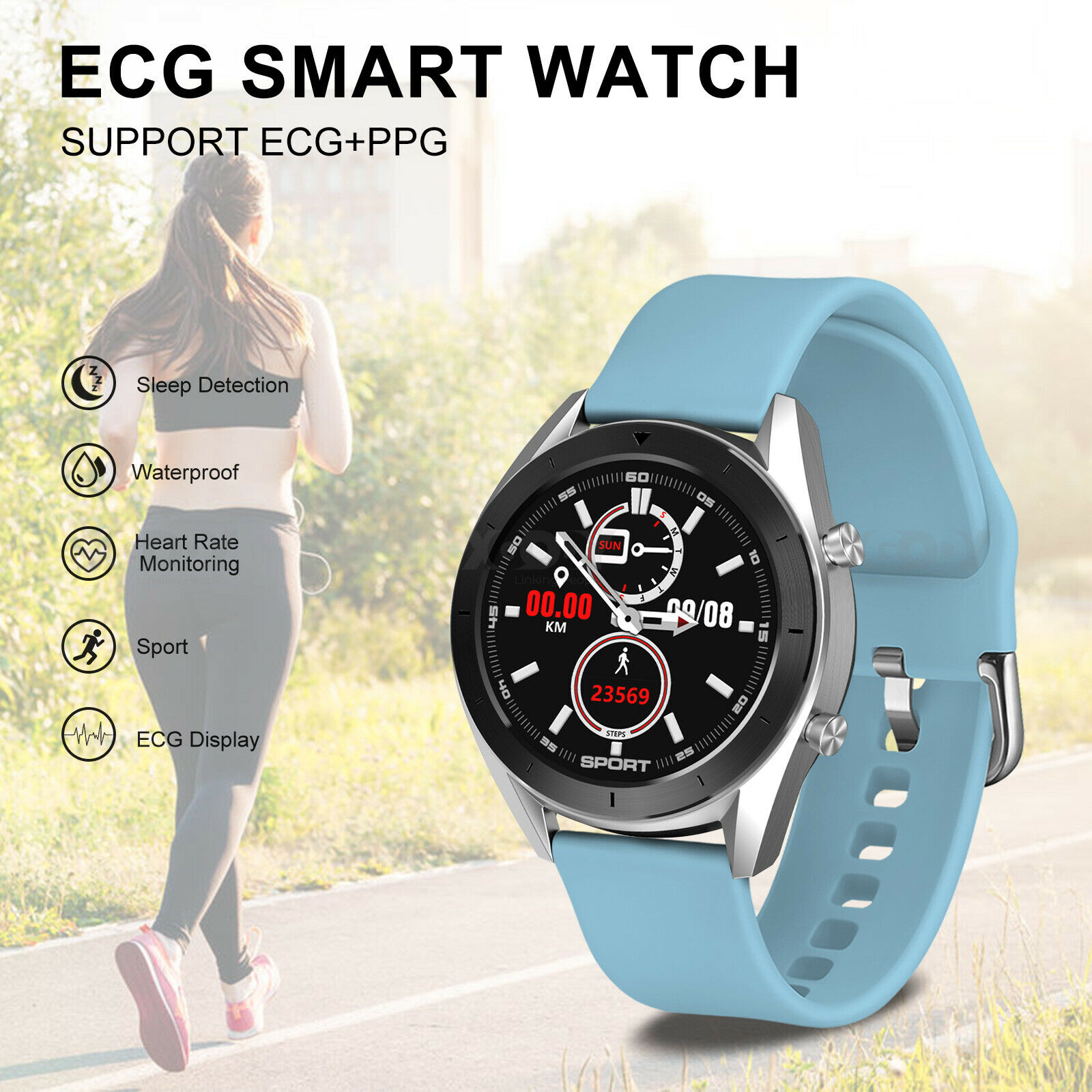 XGODY Bluetooth Smart Watch ECG PPG Blood Pressure Oxygen Heart Rate Sports IP68 blood bluetooth ecg heart oxygen ppg pressure smart watch xgody