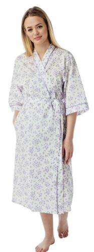 Ladies  cotton  wrap over dressing gowns floral print 3//4 sleeves with pockets