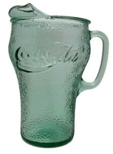Vintage-Original-Green-Glass-Coca-Cola-Coke-Pitcher-8-5-Inches-Tall