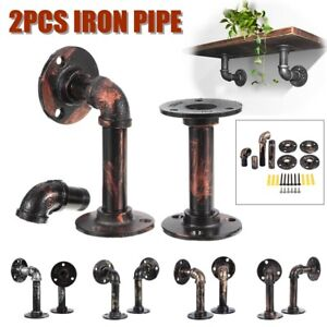 AUG-2Pcs-Industrial-Wall-Mounted-Iron-Pipe-Shelf-Bracket-Floating-Shelf-Holder