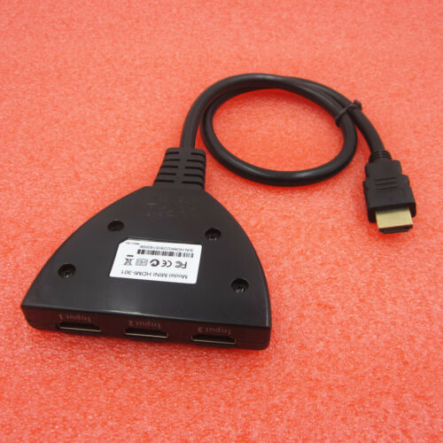 3 IN 1 OUT 1080P Hub V1.4B HDMI Switch Switcher Splitter Cable For HDTV XBOX PS3