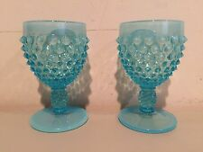 Fenton HOBNAIL Blue Opalescent Wine Goblets TWO 4 Inches Extremely Rare!
