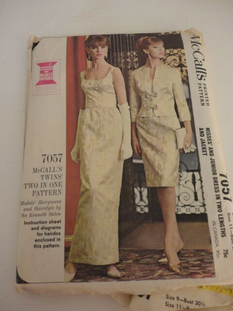 Vintage McCall's 7057 Formal Dress Pattern from 1960s cut Size 9, 11