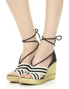 Marc-Jacobs-Dani-Espadrille-Wedge-Heel-Sandals-Black-White-Sz-40-US-10-New-295