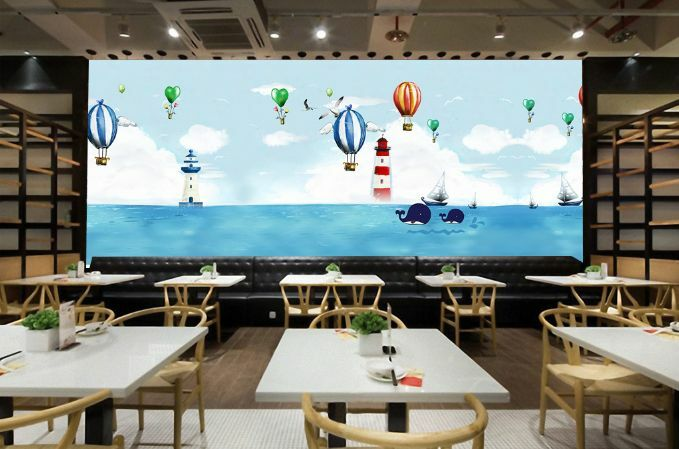3D Ocean Hot Air Balloon Paper Wall Print Decal Wall Wall Murals AJ WALLPAPER GB