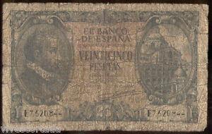 25 pesetas 1940 Juan Herrera @@ Utilisé @@ KeFzpSdJ-07134346-346183936