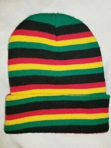 f9f26823353 Details about Rasta Green Yellow Red Stripes Bob Marley Portrait Hat Cap Beanie  Style Hat