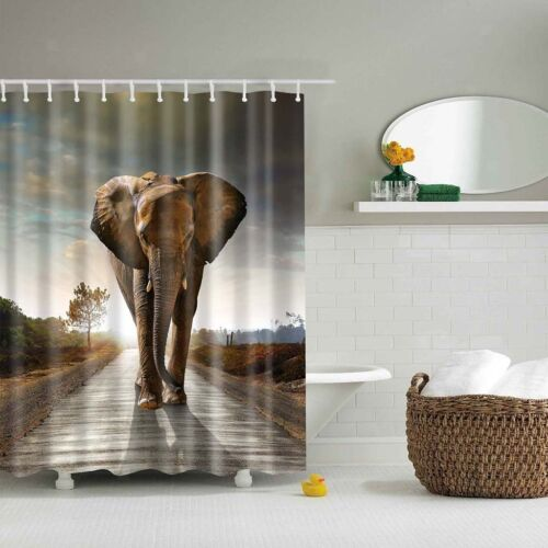 Bathroom Shower Curtain Waterproof Fabric Divider Sheer Hooks Elephant #2