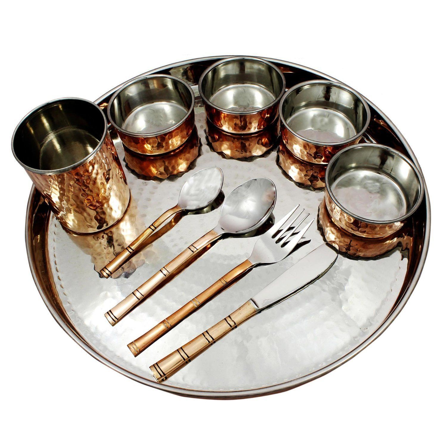 Dinnerware Stainless Steel Copper Traditional Dinner Set for Indian Food Plate