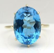 14mm x 10mm Swiss Blue Topaz 9ct Gold Ring Size N Limited Edition Exclusive