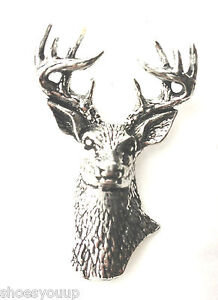 Long Horn Skull Handcrafted in Solid Pewter In UK Lapel Pin Badge