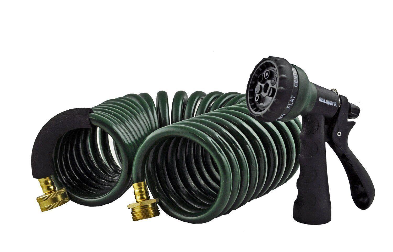 Instapark Heavy-duty EVA Recoil Garden Hose 25ft with 7-Pattern Spray