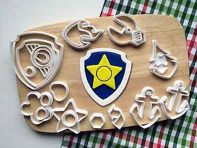 Set For 8 Paw Patrol Badges Cookie Fondant Cutter Set Cupcake Cake Gift Ebay