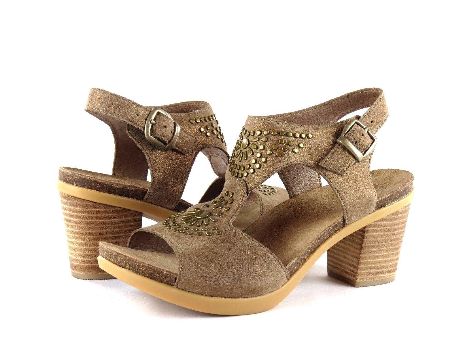 Dansko Deandra Taupe Shimmer Suede Embellished Ankle Strap Sandale Heel Größe 41