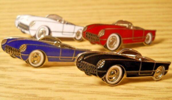 Auswahl 1953 Chevrolet Corvette Cabrio Revers Hut Jacke Pin Chrom 1 1/2 Einen Einzigartigen Nationalen Stil Haben