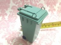 """Dollhouse Miniature Furniture Outdoor Green Trash Garbage Can H3.5"""" S1:12"""