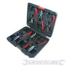 633889 Silverline Mini Alicates Conjunto nariz torcida Plana Larga De 6 piezas con estuche de agarre