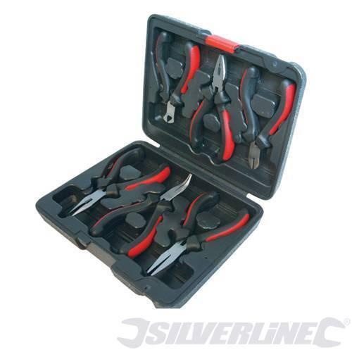 633889 Silverline Mini Alicates Set 6 piezas largo plano punta semirredonda