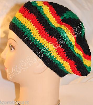 Men Women Braided Crochet Knit Beanie Skull Cap Hat Beret Girl Jamaican Rasta