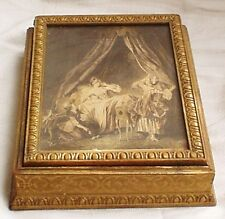 Antique Wooden Mirrored Jewelry Keepsake Guilded Box Victorian Art Print Display