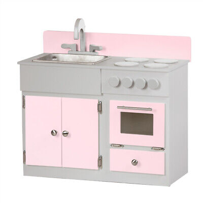 Kitchen Sink Stove Oven Pink Gray