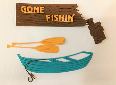Die Cuts - Gone Fishing Board + Fishing Boat and Oars.