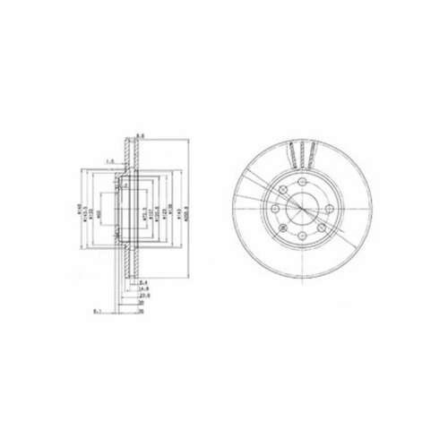 Genuine Delphi Front Vented Brake Discs Set Pair BG3404