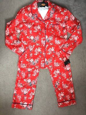 M/&S AUTOGRAPH RED FLORAL PYJAMAS WITH COLLAR AND BUTTON TOP AGE 11-12y BNWT