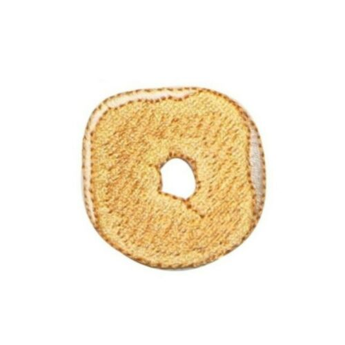ID 1237A Plain Bagel Patch Breakfast Bakery Slice Embroidered Iron On Applique