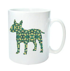 English Bull Terrier Mug Paisley Dog Silhouette Blue//Green Birthday Gift